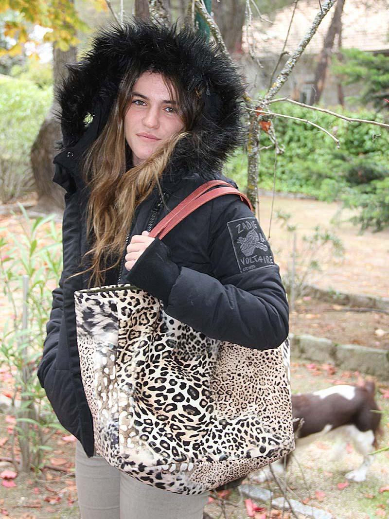 Verde Leopardo Asa Naranja Mujer